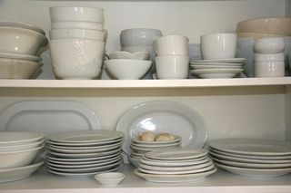 Dishes in cupboard