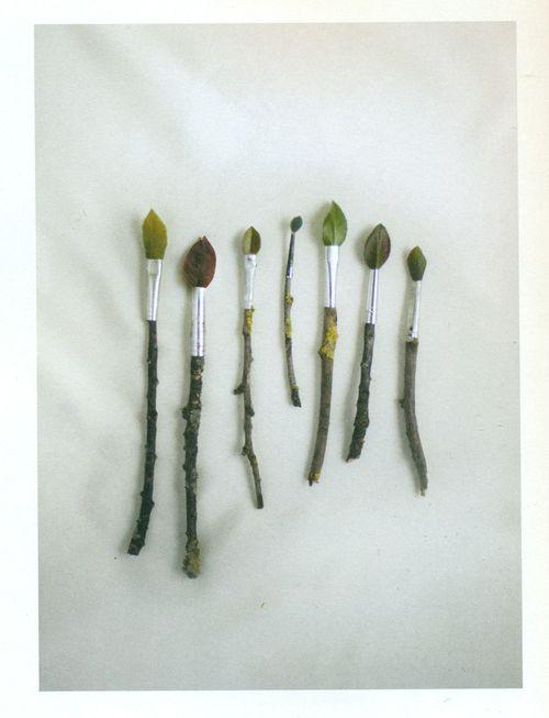 Leaf paintbrushes